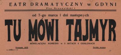 """Afisz teatralny – """"Tu mówi Tajmyr"""""""
