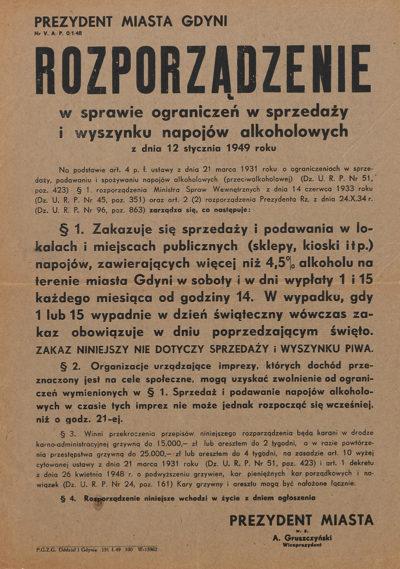 Afisz – Rozporządzenie Prezydenta Gdyni w sprawie sprzedaży i wyszynku napojów alkoholowych