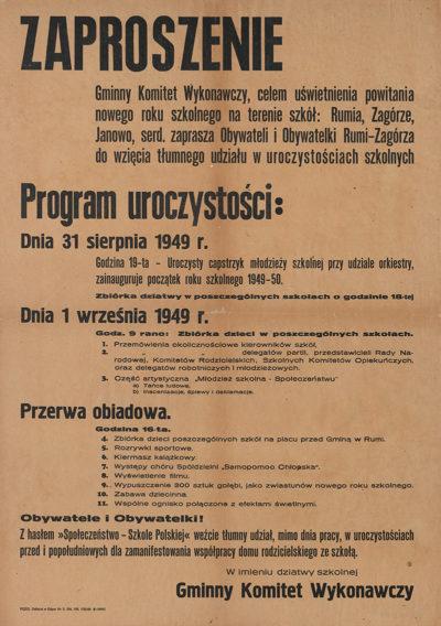 """Afisz """"Inauguracja roku szkolnego 1949-50"""""""