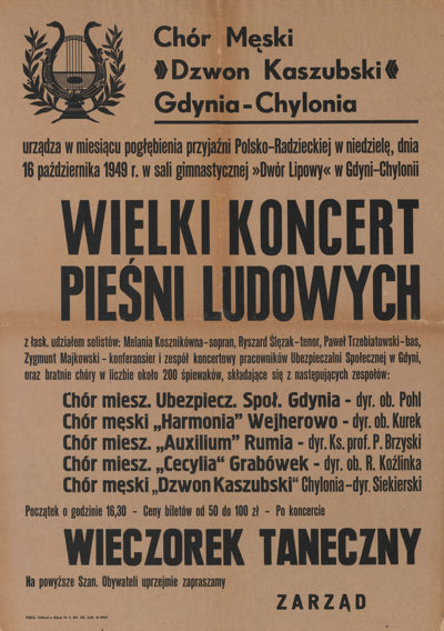 """Afisz – """"Wielki koncert pieśni ludowych"""""""
