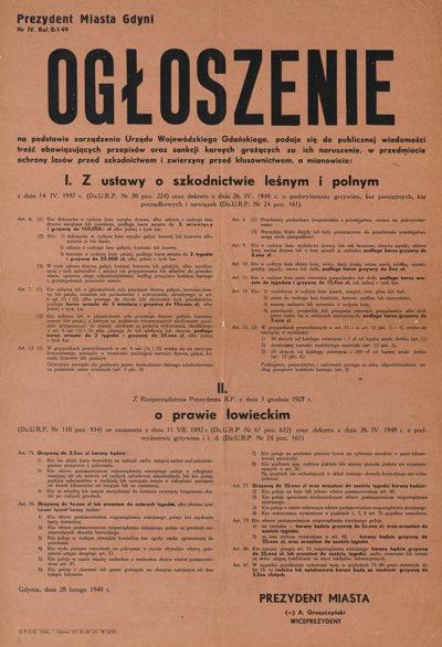 Afisz – Ogłoszenie prezydenta miasta Gdyni