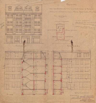 Rysunek na budowę domu mieszkalnego w Gdyni przy ul. Abrahama – właść. Kazimierz Mucha
