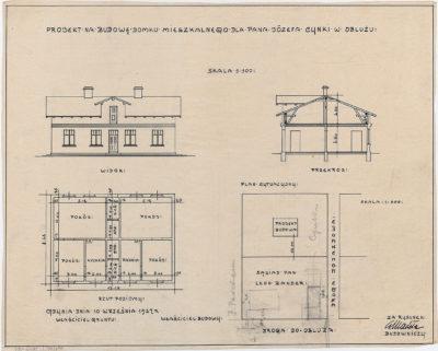 Projekt na budowę domku mieszkalnego dla pana Józefa Cynki w Obłużu