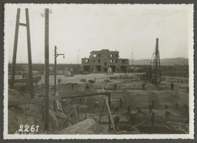 Plac budowy elektrowni parowej od strony bocznicy kolejowej