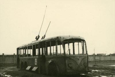Wrak trolejbusu na ul. Jana z Kolna