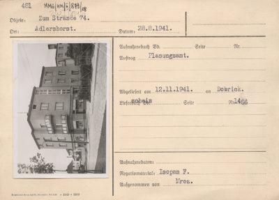 Karta ewidencyjna budynku przy ulicy Orłowskiej 74