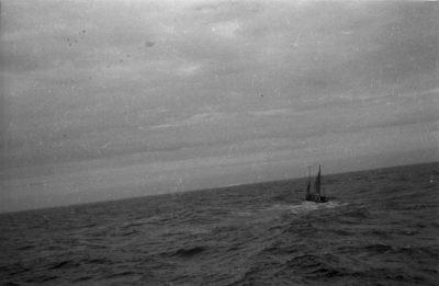 Żaglówka na wzburzonym morzu
