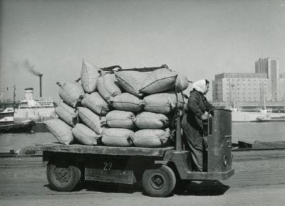 Operatorka pojazdu transportującego worki w porcie gdyńskim