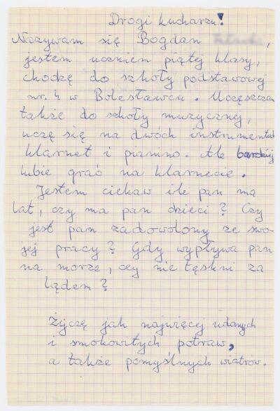 List ucznia piątej klasy Szkoły Podstawowej nr 4 w Bolesławcu do kucharza na drobnicowcu m/s Artur Grottger