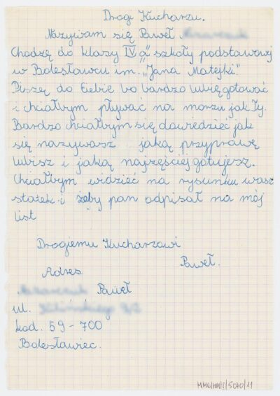 List ucznia czwartej klasy Szkoły Podstawowej nr 4 w Bolesławcu do kucharza na drobnicowcu m/s Artur Grottger