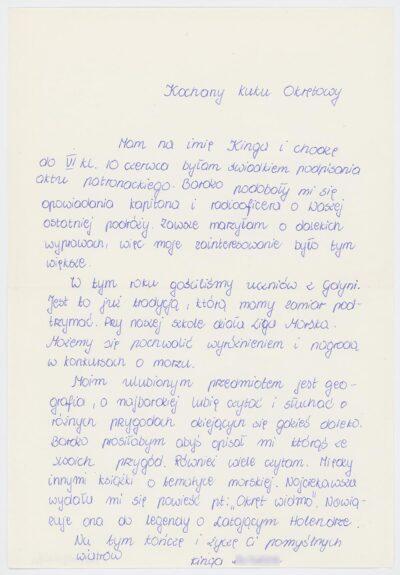 List uczennicy szóstej klasy Szkoły Podstawowej nr 4 w Bolesławcu do kucharza na drobnicowcu m/s Artur Grottger