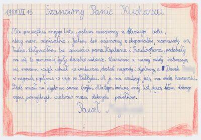 List ucznia Szkoły Podstawowej nr 4 w Bolesławcu do kucharza na drobnicowcu m/s Artur Grottger