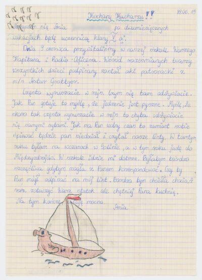 List uczennicy piątej klasy Szkoły Podstawowej nr 4 w Bolesławcu do kucharza na drobnicowcu m/s Artur Grottger