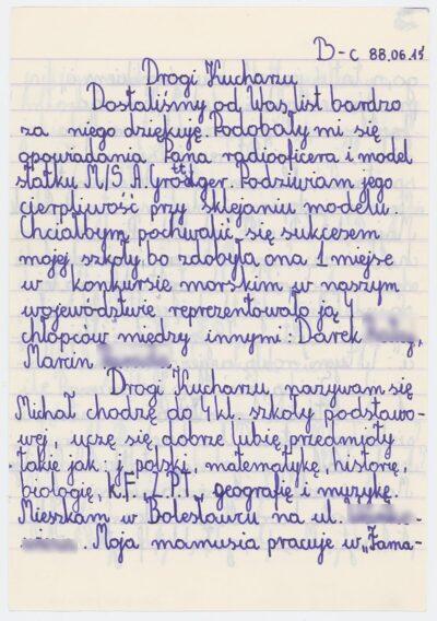 List ucznia czwartej klasy Szkoły Podstawowej nr 4 w Bolesławcu do kucharza drobnicowca m/s Artur Grottger