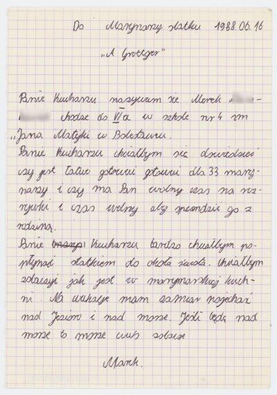 List ucznia Szkoły Podstawowej nr 4 w Bolesławcu do kucharza drobnicowca m/s Artur Grottger