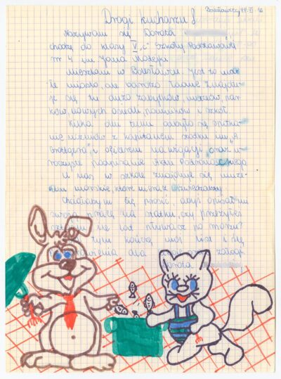 List uczennicy piątej klasy Szkoły Podstawowej nr 4 w Bolesławcu do kucharza drobnicowca m/s Artur Grottger