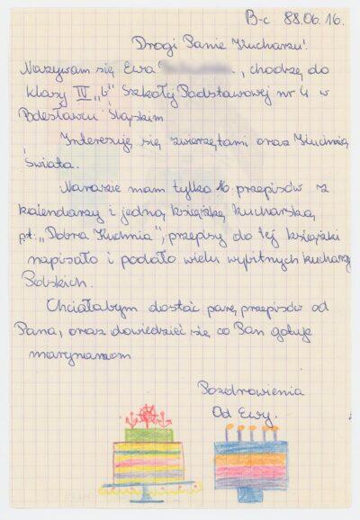 List uczennicy czwartej klasy Szkoły Podstawowej nr 4 w Bolesławcu do kucharza drobnicowca m/s Artur Grottger