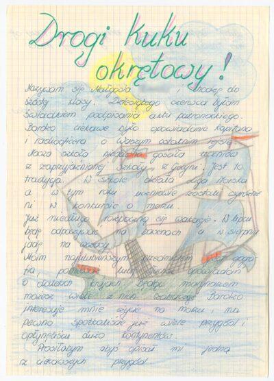 List uczennicy Szkoły Podstawowej nr 4 w Bolesławcu, do kucharza na drobnicowcu m/s Artur Grottger