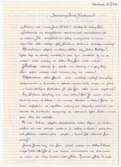List uczennicy szóstej klasy Szkoły Podstawowej nr 4 w Bolesławcu do kucharza drobnicowca m/s Artur Grottger