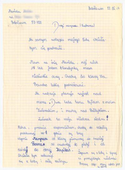 List uczennicy Szkoły Podstawowej nr 4 w Bolesławcu do kucharza drobnicowca m/s Artur Grottger