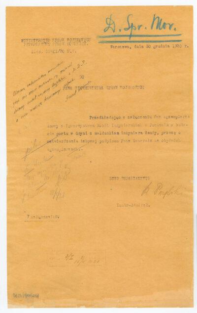 Dokument kontradmirała Kazimierza Porębskiego skierowany do Ministra Spraw Wojskowych dotyczący przesłania dwóch egzemplarzy umowy Towarzystwa Robót Inżynierskich w Poznaniu o budowie portu w Gdyni oraz meldunku inżyniera Tadeusza Wendy.