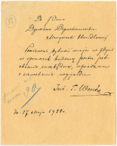 Pismo Tadeusza Wendy do Dyrektora Departamentu Marynarki Handlowej