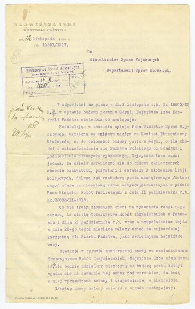 Pismo Najwyższej Izby Kontroli Państwa do Departamentu Spraw Morskich Ministerstwa Spraw Wojskowych w sprawie budowy portu w Gdyni