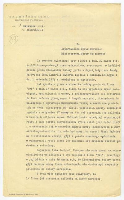 Pismo Najwyższej Izby Kontroli Państwa do Departamentu Spraw Morskich Ministerstwa Spraw Wojskowych w sprawie nieudzielenia TRI zaliczki