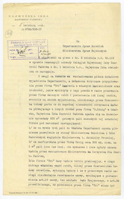 Pismo Najwyższej Izby Kontroli Państwa do Departamentu Spraw Morskich Ministerstwa Spraw Wojskowych ze zgodą na sprzedaż pali sosnowych